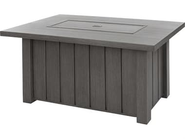 Ebel Trevi Aluminum 50''W x 32''D Rectangular Plank Top Fire Pit Table with Lid EBL978