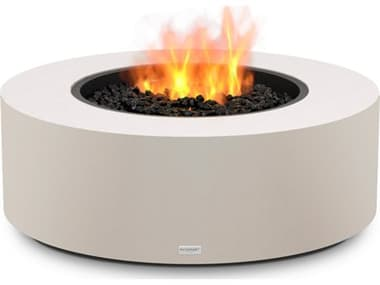 EcoSmart Fire Ark 40 Concrete Bone 39'' Wide Round Fire Table with LP/NG Gas Burner ECOESF.O.ARK.40.BO.G