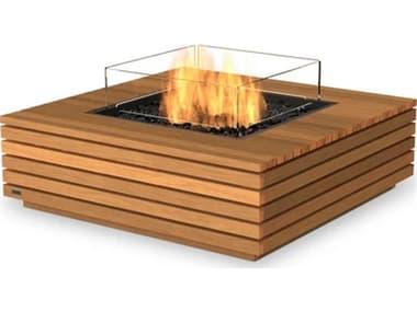 EcoSmart Fire Base 40 Teak 39'' Wide Square Fire Table with Ethanol Burner ECOESF.O.BAS.40.TN