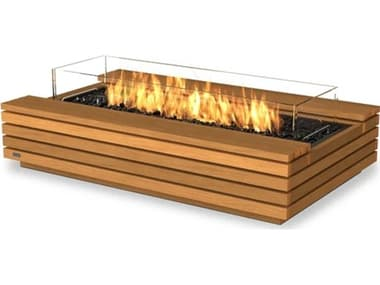 EcoSmart Fire Cosmo 50 Teak 50''W x 30''D Rectangular Fire Table with LP/NG Gas Burner ECOESF.O.CMO.50.TN.G