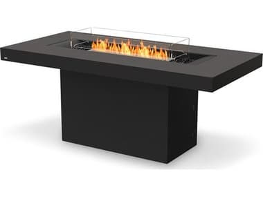 EcoSmart Fire Gin 90 Bar Concrete Graphite 89''W x 43''D Rectangular Fire Pit Table with Propane/Natural Gas ECOESF.O.GIN.90.B.GH.G