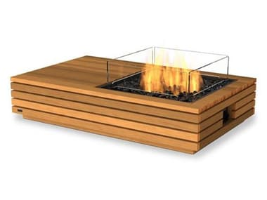 EcoSmart Fire Manhattan 50 Teak 50''W x 30''D Rectangular Fire Table with LP/NG Gas Burner ECOESF.O.MHA.50.TN.G