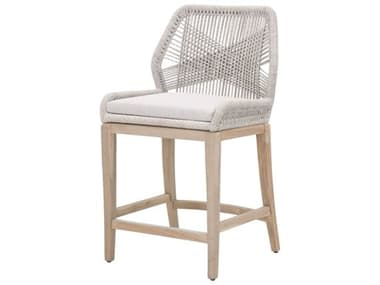 Essentials for Living Outdoor Woven Taupe & White Flat Rope / Pumice Aluminum Wood Cushion Counter Stool EFL6808CSWTAPUMGT