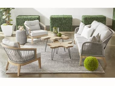 Essentials for Living Outdoor Woven Gray Cushion Lounge Set EFL68173PLASGGTSET