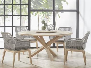 Essentials for Living Outdoor Woven Teak Dining Set EFL6829GTSET