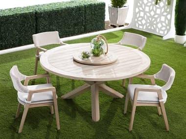 Essentials for Living Outdoor Woven Teak Dining Set EFL6829GTSET2