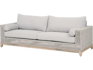 Essentials for Living Outdoor Woven Taupe & White Flat / Pumice Cushion Sofa EFL6843WTAPUMGT