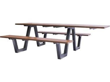 EMU SID Aluminum Antique Iron 96''W x 70''D Rectangular Picnic Table EM1821A