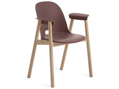 Emeco Outdoor Alfi Ash Wood Dining Arm Chair with Dark Brown Seat and Back EMOALFI18AHDARKBROWNA