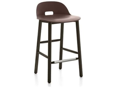 Emeco Outdoor Alfi Ash Wood Dark Low Back Counter Stool with Dark Brown Seat and Back EMOALFI24DALDARKBROWN