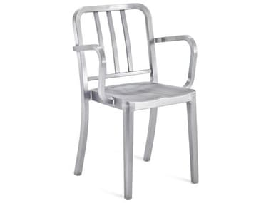 Emeco Outdoor Heritage Brushed Aluminum Dining Arm Chair EMOHERA