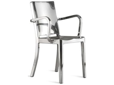 Emeco Outdoor Hudson Polished Aluminum Dining Arm Chair EMOHUDAP