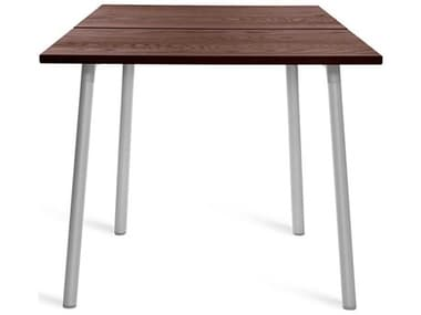 Emeco Outdoor Run By Sam Hecht And Kim Colin Aluminum Clear Anodized 32'' Wide Square Dining Table with Walnut Top EMORT32SWAL