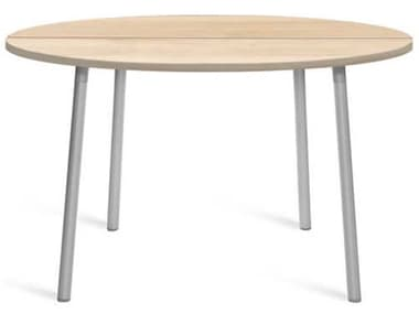 Emeco Outdoor Run By Sam Hecht And Kim Colin Aluminum Clear Anodized 42'' Wide Round Chat Table with Accoya Top EMORTR42SACC