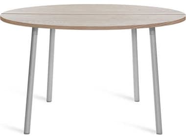 Emeco Outdoor Run By Sam Hecht And Kim Colin Aluminum Clear Anodized 42'' Wide Round Chat Table with Ash Top EMORTR42SASH
