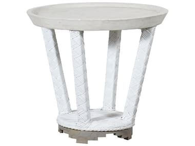 Elk Outdoor Wicker White 24'' Wide Round End Table EO7118005