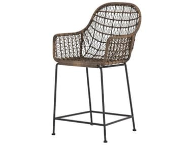 Four Hands Outdoor Grass Roots Natural Black / Distressed Grey Wrought Iron Wicker Counter Stool FHOJLAN125A