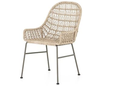 Four Hands Outdoor Grass Roots Vintage White / Grey Bronze Wrought Iron Wicker Dining Chair FHOJLAN131A