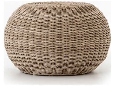 Four Hands Outdoor Grass Roots Pure White / Vintage Aluminum Wicker Ottoman FHOJLAN167A
