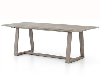 Four Hands Outdoor Solano Weathered Grey 86'' Wide Teak Rectangular Dining Table FHOJSOL019A