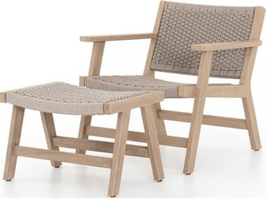 Four Hands Outdoor Solano Thick Grey Rope / Washed Brown Teak Strap Lounge Set FHOJSOL020K