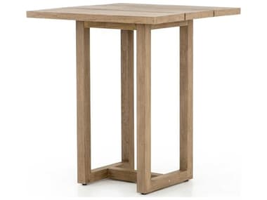 Four Hands Outdoor Solano Washed Brown 35'' Wide Teak Square Bar Table FHOJSOL023