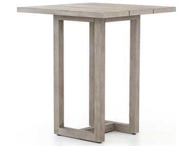 Four Hands Outdoor Solano Weathered Grey 35'' Wide Teak Square Bar Table FHOJSOL023A