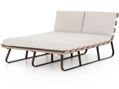 Four Hands Outdoor Solano Bronze / Stone Grey Washed Brown Aluminum Teak Cushion Chaise Lounge FHOJSOL053