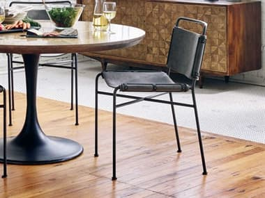Four Hands Irondale Stonewash Grey / Waxed Black Side Dining Chair FSCIRD201
