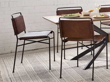 Four Hands Irondale Distressed Brown / Waxed Black Side Dining Chair FSCIRD201926