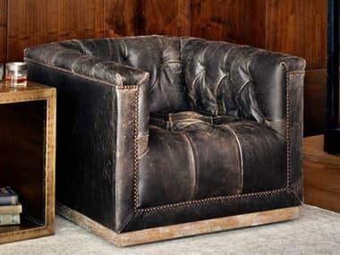 Four Hands Kensington Maxx Destroyed Black Swivel Club Chair FSCKENF4Z928