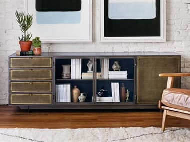 Four Hands Rockwell Perforated Brass Patina / Clear Glass Gunmetal TV Stand FSIRCK208