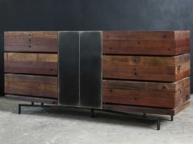 Four Hands Bina Natural Peroba / Black And Silver Metal 6 Drawers Double Dresser FSVBNADR726