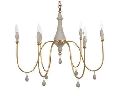 Gabby Home Clay Vintage Gold, Distressed Ivory 31'' Wide Medium Chandelier GASCH159065