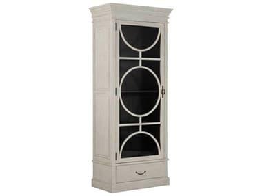 Gabby Home Rheet Sesame White / Satin Black Antique Bronze Left Hand Door Swing Curio GASCH160325