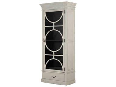 Gabby Home Rheet Sesame White / Satin Black Antique Bronze Right Hand Door Swing Curio GASCH191400