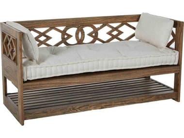 Gabby Modena Natural Mindy & Beige Linen Tufted Wooden Bench GASCH550390