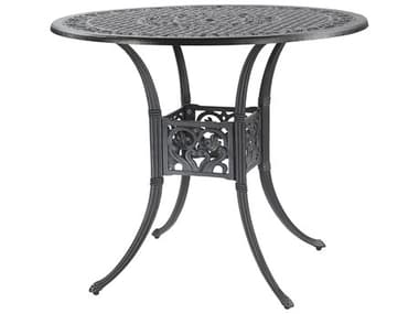 Gensun Michigan Cast Aluminum 48'' Wide Round Bar Table with Umbrella Hole GES10140L48