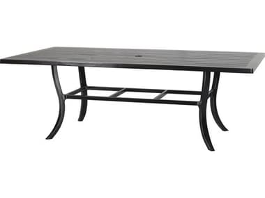 Gensun Channel Aluminum 86''W x 44''D Rectangular Dining Table with Umbrella Hole GES101900C9