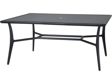 Gensun Fusion 63''W x 42''D Rectangular with Aluminum Top Dining Table with Umbrella Hole GES103000C1