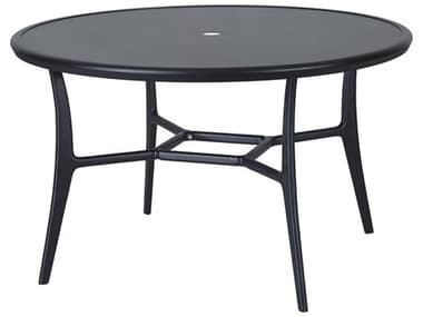 Gensun Fusion 48'' Wide Round with Aluminum Top Dining Table with Umbrella Hole GES10300A48