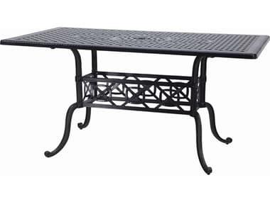 Gensun Grand Terrace Cast Aluminum 72''W x 42''D Rectangular Bar Table with Umbrella Hole GES10340LC2