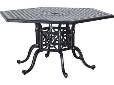 Gensun Grand Terrace Cast Aluminum 62''W x 54''D Hexagon Dining Table with Umbrella Hole GES10346A61