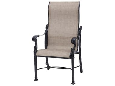 Gensun Florence Sling Cast Aluminum High Back Dining Arm Chair GES50230001