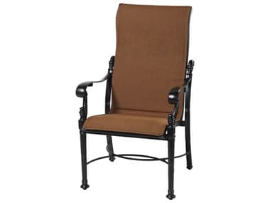 Gensun Florence Padded Sling Cast Aluminum High Back Dining Arm Chair GES61230001
