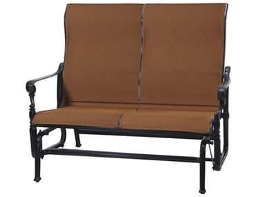 Gensun Grand Terrace Padded Sling Cast Aluminum High Back Loveseat Glider GES61340004