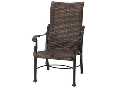 Gensun Florence Woven Cast Aluminum High Back Dining Arm Chair GES70230001