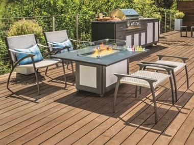 Gensun Amari Woven Aluminum Fire Pit Lounge Set GESAMARIWVNLNGFRPITSET