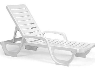 Grosfillex Bahia Resin White Stacking Adjustable Chaise Lounge GX44031004