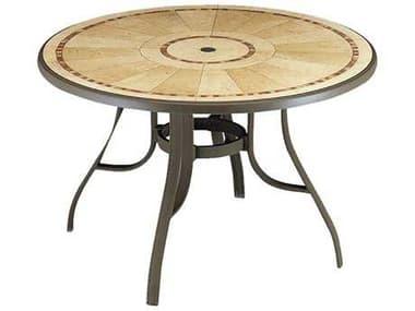 Grosfillex Louisiana Aluminum Bronze Mist 48'' Wide Round Pietra Top Dining Table with Umbrella Hole GX52236137
